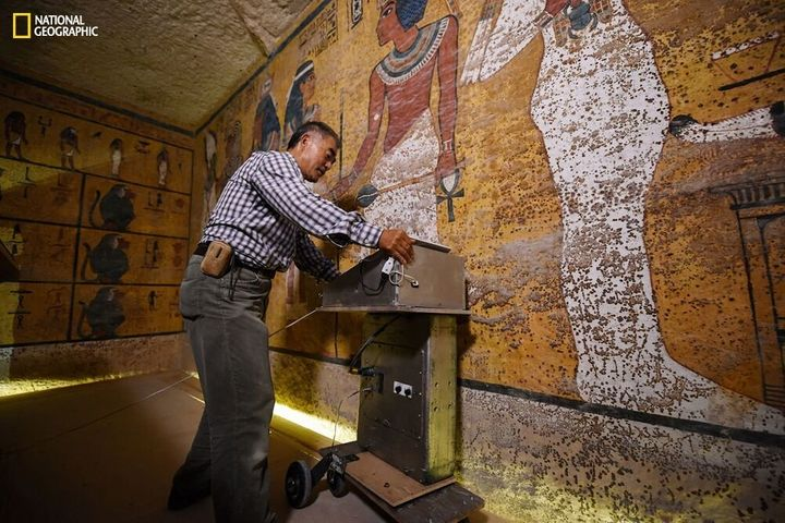 Radar specialist Hirokatsu Watanabe examines the walls of King Tut's tomb in an image provided by National Geographic.