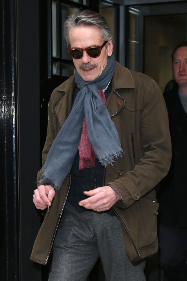 Jeremy Irons leaves the Radio 2 studio in central