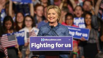 WEST PALM BEACH, FL - MARCH 15:  Hillary Clinton holds primary night event at Palm Beach County Convention Center on March 15, 2016 in West Palm Beach, Florida.  (Photo by Mychal Watts/WireImage)