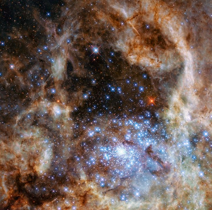 The monster stars in cluster R136 are shown toward the bottom right of this image of the Tarantula Nebula.