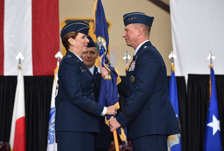Gen. Lori Robinson (L) in Tokyo in June 2015. She entered the Air Force through the ROTC program at the University