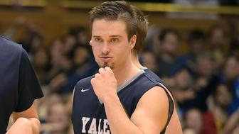 DURHAM, NC - NOVEMBER 25: Jack Montague #4 of the Yale Bulldogs looks on against the Duke Blue Devils at Cameron Indoor Stadium on November 25, 2015 in Durham, North Carolina. Duke defeated Yale 80-61. (Photo by Lance King/Getty Images)