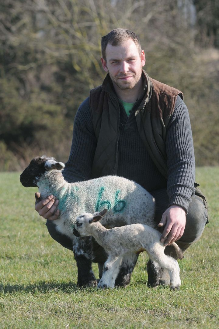 Farmer Neil Fell, with Tyson and an average-sized lamb for comparison.
