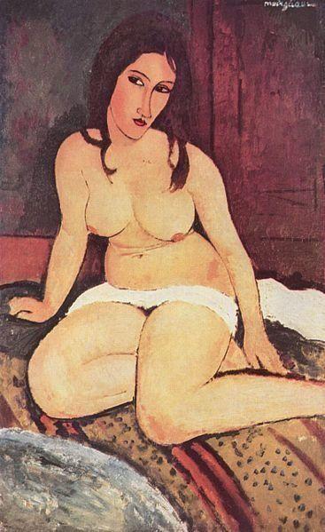 "<a href=""https://en.wikipedia.org/wiki/File:Amedeo_Modigliani_056.jpg"" target=""_blank"">Amedeo Modigliani, ""Nudo seduto,"" 1917"