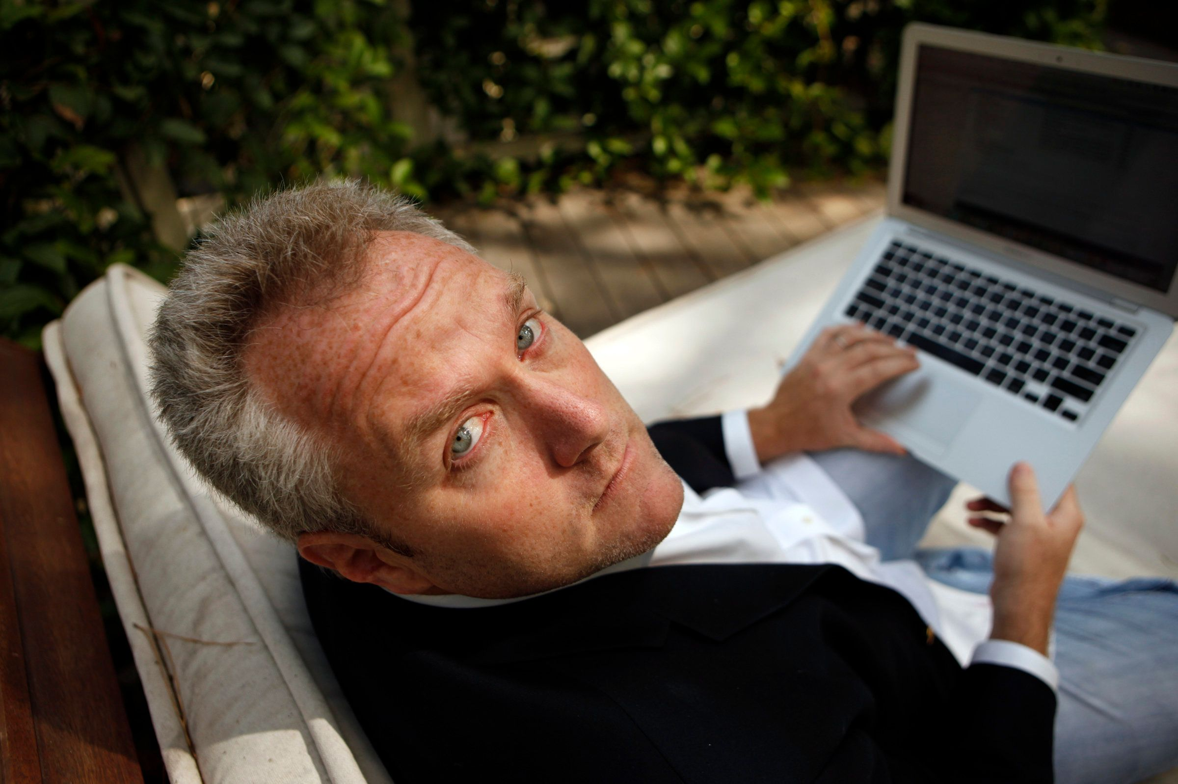 Andrew Breitbart, the Los Angeles new media entrepreneur photographed at his Los Angeles home August 5, 2010. Breitbart unleashed a national furor when he posted videos of USDA official Shirley Sherrod telling a meeting of the NAACP that she had once discriminated against a white farmer.  (Photo by Al Seib/Los Angeles Times via Getty Images)
