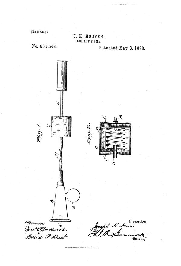 """Patent for Joseph H. Hoover.Publication date: May 3, 1898. Filing date: Aug 9, 1897. Excerpt: """"The purpose of my invent"""