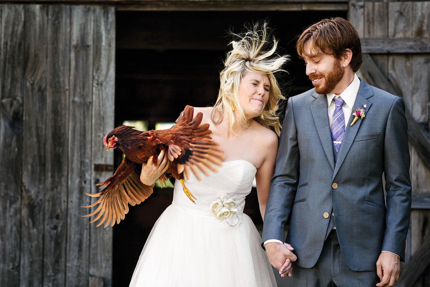 """""""We'vehad Nugget since she was a chick. For our pre-wedding photos, I had her nestled in my arms, but she started wavin"""