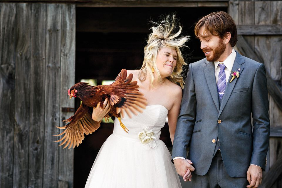 """We've had Nugget since she was a chick. For our pre-wedding photos, I had her nestled in my arms, but she started wavin"