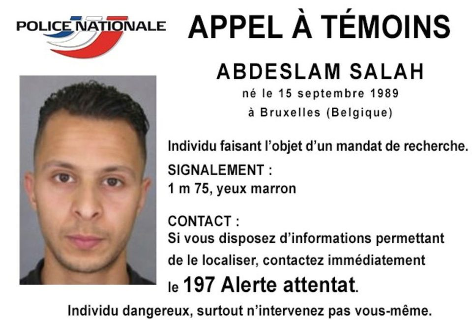 French National Police distributed this notice with Salah's information, asking anyone with knowledge about his whereabouts t