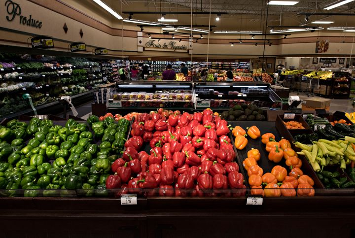Peppers are displayed for sale at a Kroger store in Peoria, Illinois, on June 16, 2015.