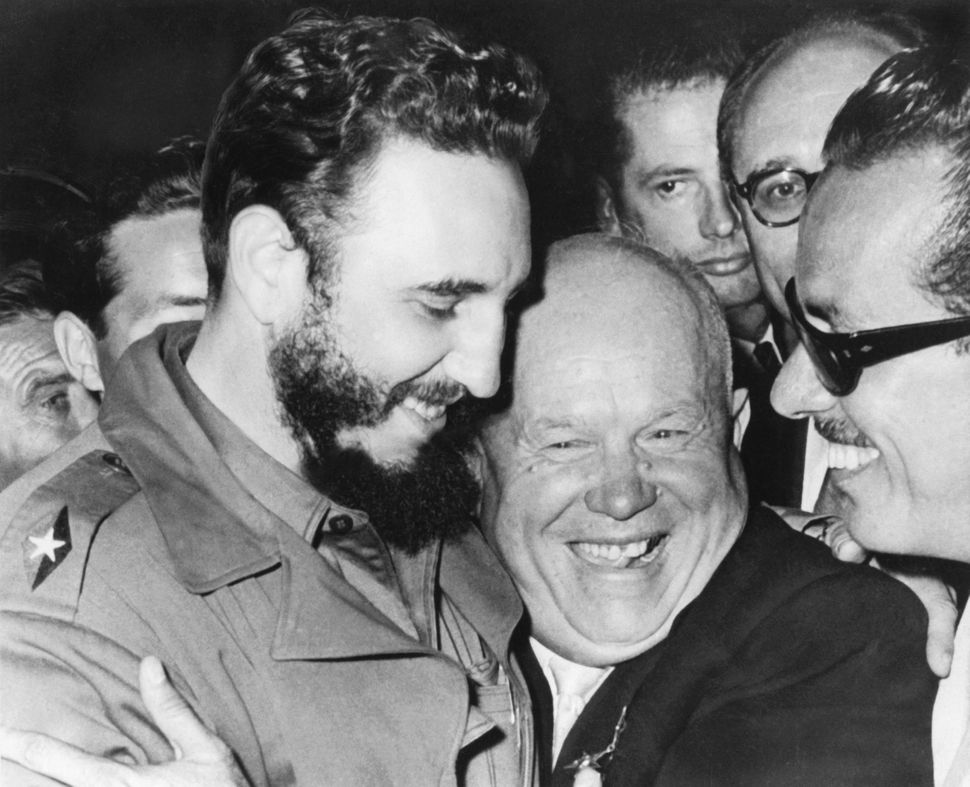 Fidel Castro and Soviet Premier Nikita Khrushchev embraceat the United Nations in Sept. 1960.The two communist co