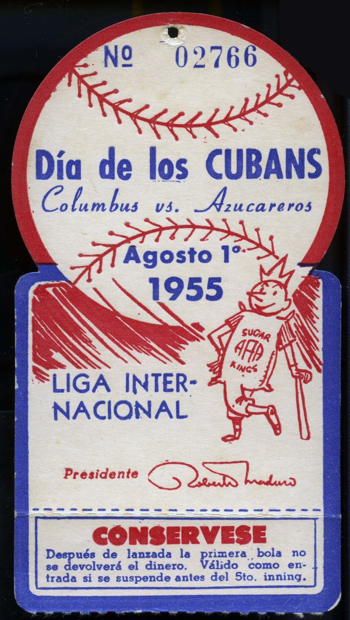 A ticket for a 1955 game between the Columbus Clippers and Havana Sugar Kings.