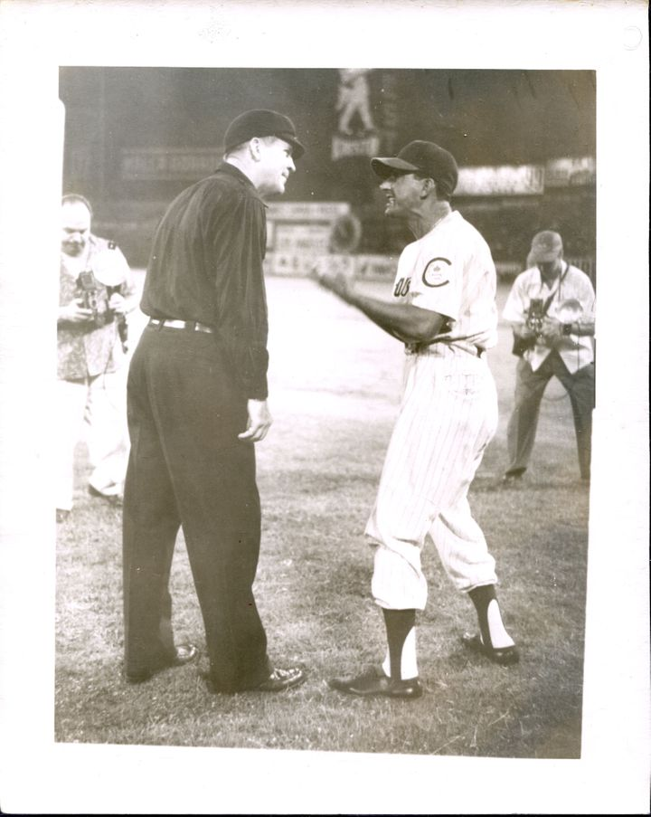 Sugar Kings manager Regino Otero argues with an umpire during a 1955 game in Havana.