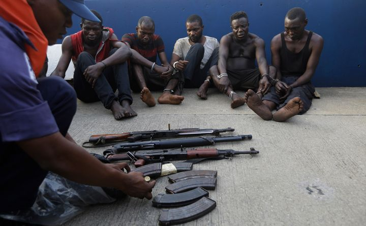 Arrested pirates who hijacked the MT Maximus last month.