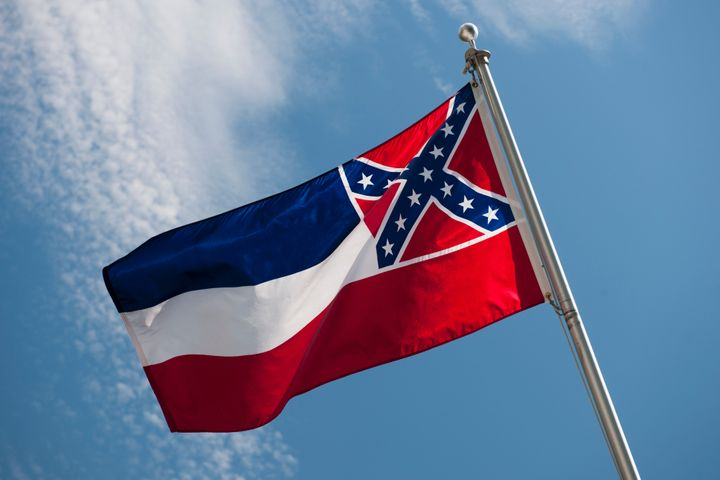 The state flag of Mississippi, whose design includes the Confederate battle flag.