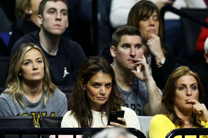 Actress Katie Holmes attends the game between the Iowa Hawkeyes and the Villanova Wildcats during the second round of the 201