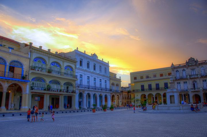 Sunset in one of Old Havana's main squares.