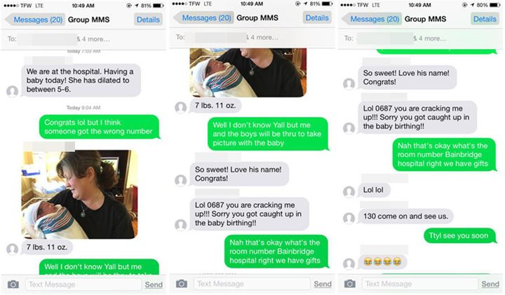 A text message sent to a wrong number announcing a newborn's birth led to an amazing surprise by a pair of total strangers.
