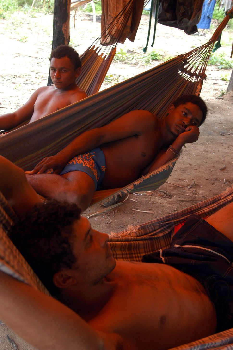 Slave workers at the Macauba Ranch in the state of Para rest in their hammocks after a Brazilian anti-slavery team raided the