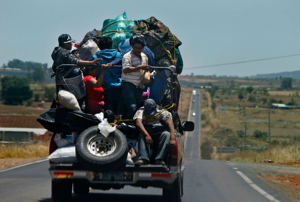 With their belongings piled high on the back of a pick-up truck, amigrant family of 14 travels the road to a farm puebl