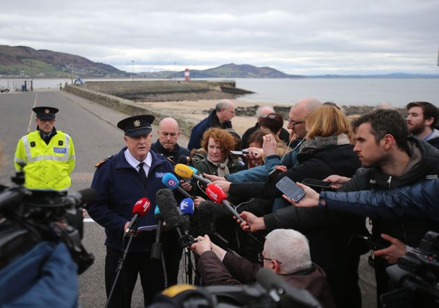 Police speak at the scene of the tragedy at Buncrana