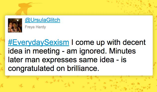A powerful tweet from the #EverydaySexism hashtag.