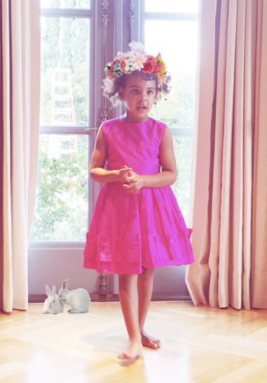 Blue Ivy's flower crown game is on point.