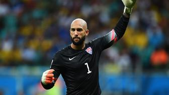 SALVADOR, BRAZIL - JULY 01:  Tim Howard of the United States in action during the 2014 FIFA World Cup Brazil Round of 16 match between Belgium and the United States at Arena Fonte Nova on July 1, 2014 in Salvador, Brazil.  (Photo by Laurence Griffiths/Getty Images)