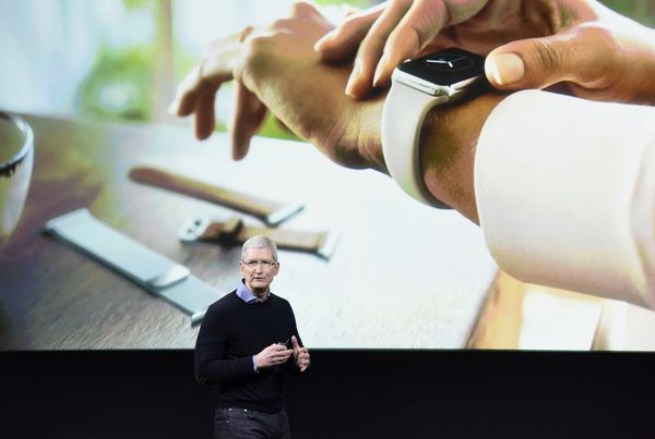 Tim Cook, chief executive officer of Apple Inc., speaks during an Apple event in Cupertino, California, U.S., on Monday, Marc