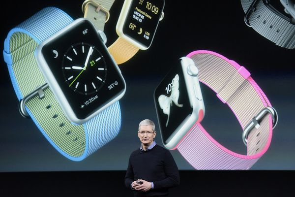Tim Cook, chief executive officer of Apple Inc., speaks during an Apple event in Cupertino, California, Monday, March 21, 201