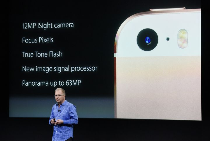 Apple Vice President Greg Joswiak shows off some of the iPhone SE's specs at the company's keynotein California.
