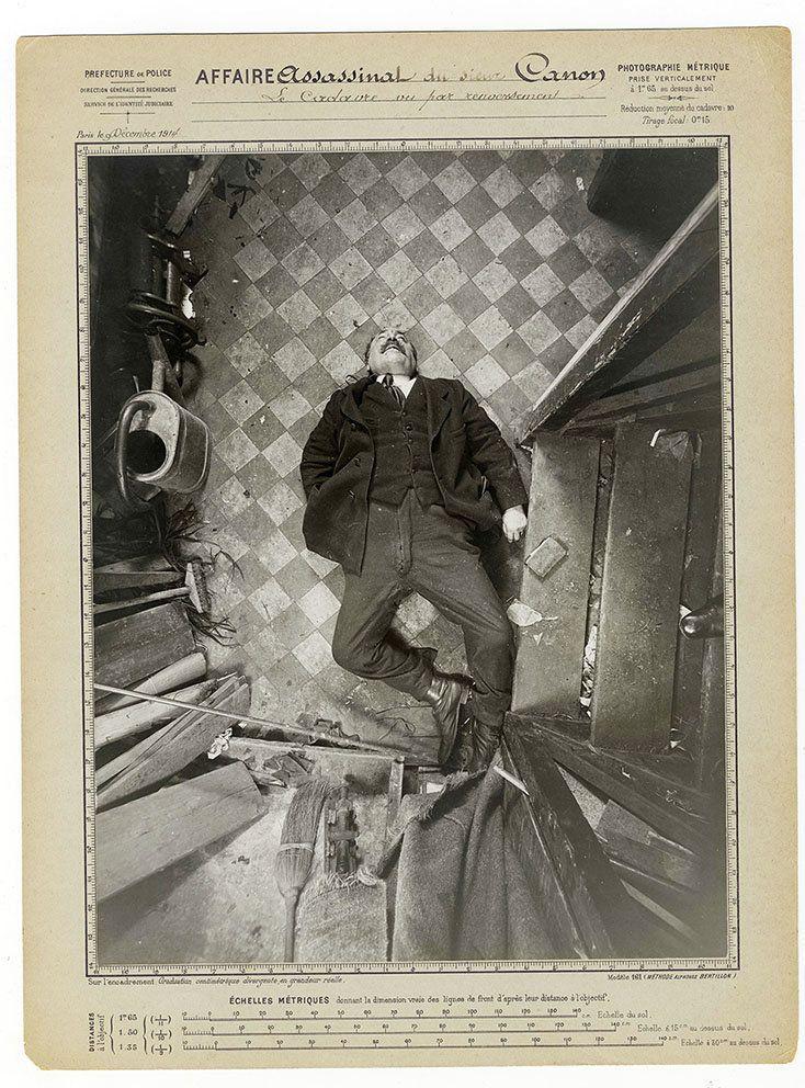 The murder of monsieur Canon, Boulevard de Clichy, December 9, 1914.Protocol by Alphonse Bertillon.