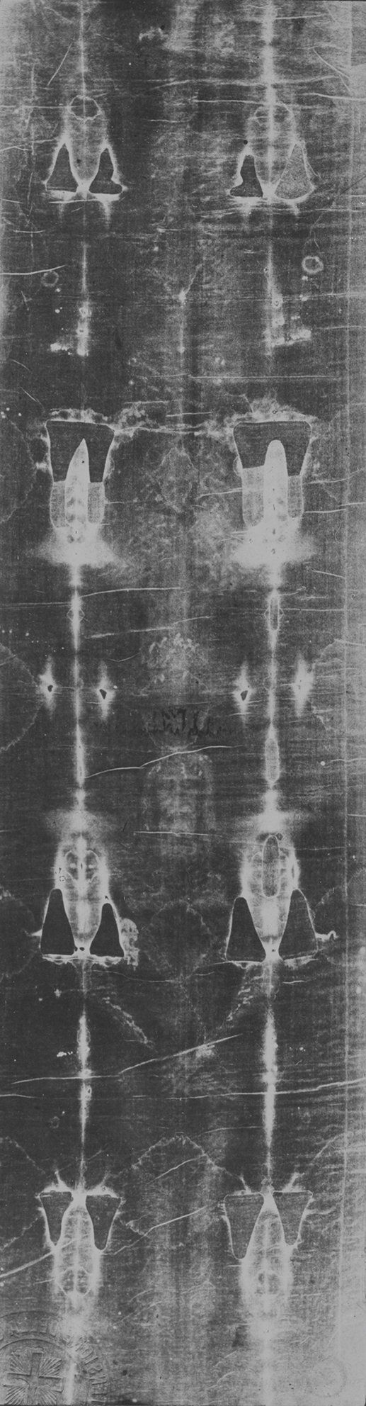 The Shroud of Turin, Turin: imprint of the face and back. Image created by a reverse of the silver negative on glass plates b