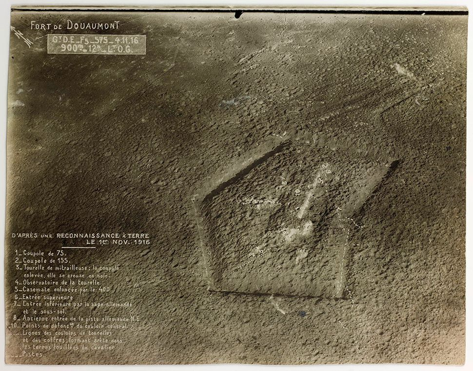 Douaumont Fort, near Verdun, France, May 20, 1916, 4pm, altitude 1,200 m, aerial photograph.