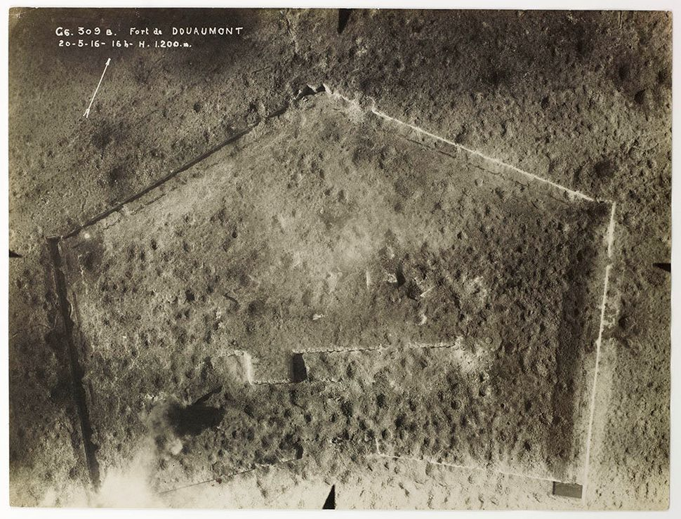 Douaumont Fort, near Verdun, France, November 4, 1916, 12pm, altitude 900 m, section of an aerial photograph.