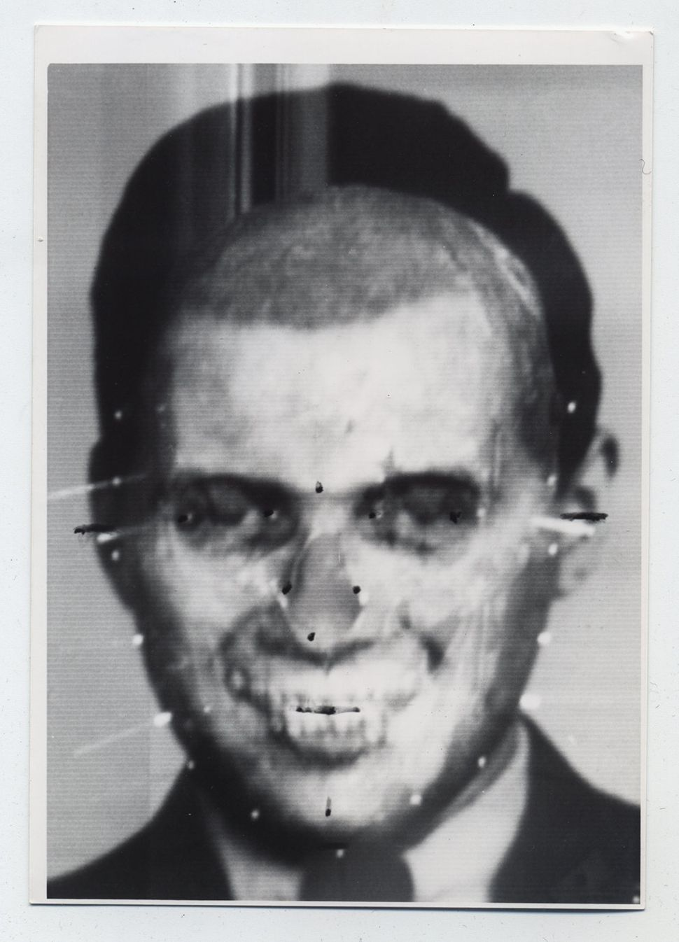 Video montage produced using photographs of Mengele and of his skull in Richard Helmer's demonstrations of the technique of s