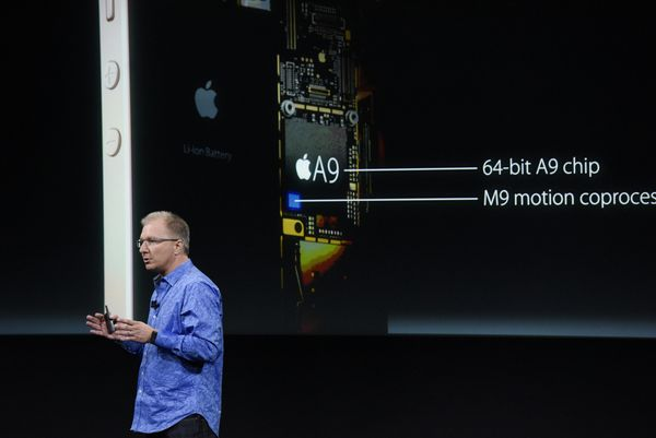 Greg Joswiak, vice president of iPod, iPhone, and iOS product marketing for Apple Inc., announces the iPhone SE smartphone du