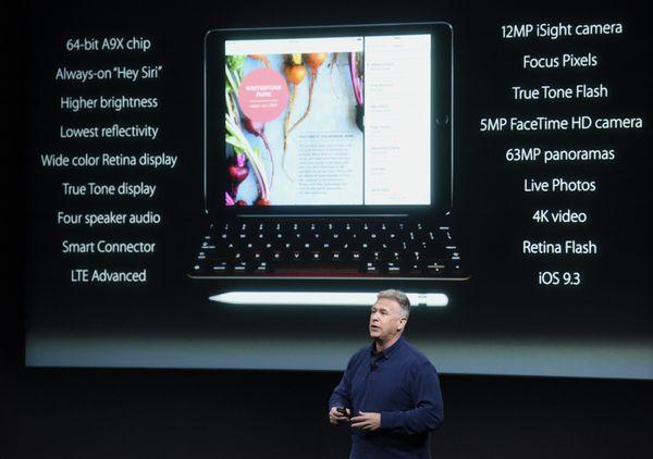 Philip 'Phil' Schiller, senior vice president of worldwide marketing at Apple Inc., announces the iPad Pro tablet computer du