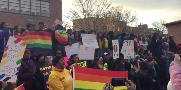 Students at Duke Ellington School of the Arts in Washington, D.C. drowned out Westboro's anti-gay catcalls en masse.