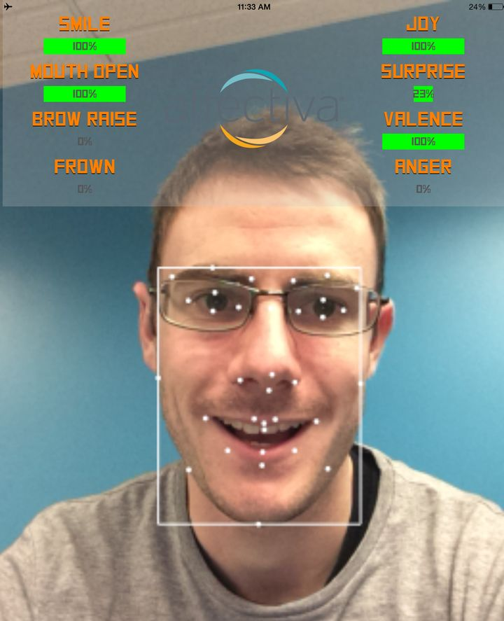 Affectiva's program detects emotion by measuring data points on an individual's face.