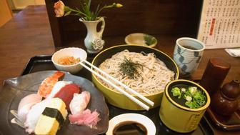 Japanese cuisine is based on combining staple foods, typically rice or noodles, with a soup and okazu - dishes made from fish, meat, vegetable and tof. These are typically flavored with dashi, miso, and soy sauce and are usually low in fat and high in salt.