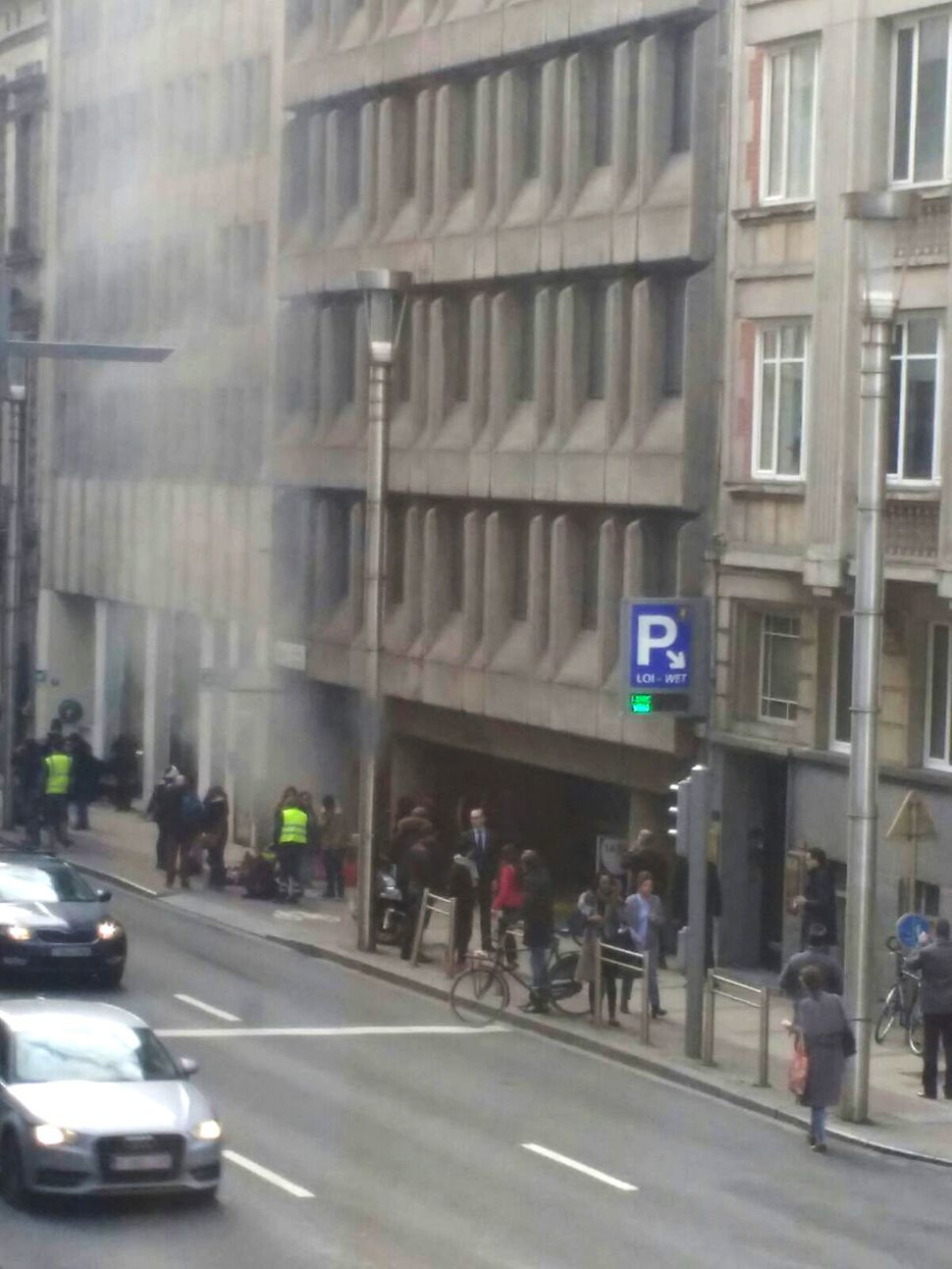 Smoke rising from the Maalbeek underground, in Brussels, following a blast at the station close to the capital's European qua