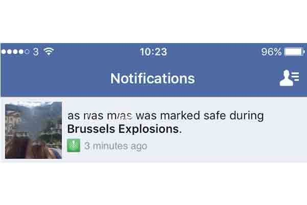 Facebook user notifying friends using Safety