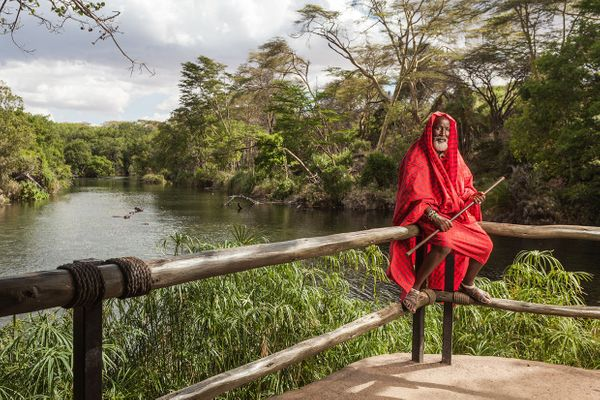 A Massai elder at Mzima Springs, Tsavo West National Park.