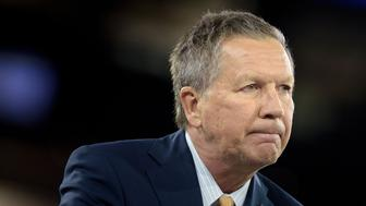 Ohio Governor and US Republican presidential hopeful John Kasich addresses the American Israel Public Affairs Committee (AIPAC) 2016 Policy Conference at the Verizon Center in Washington, DC, March 21, 2016. / AFP / Brendan Smialowski        (Photo credit should read BRENDAN SMIALOWSKI/AFP/Getty Images)