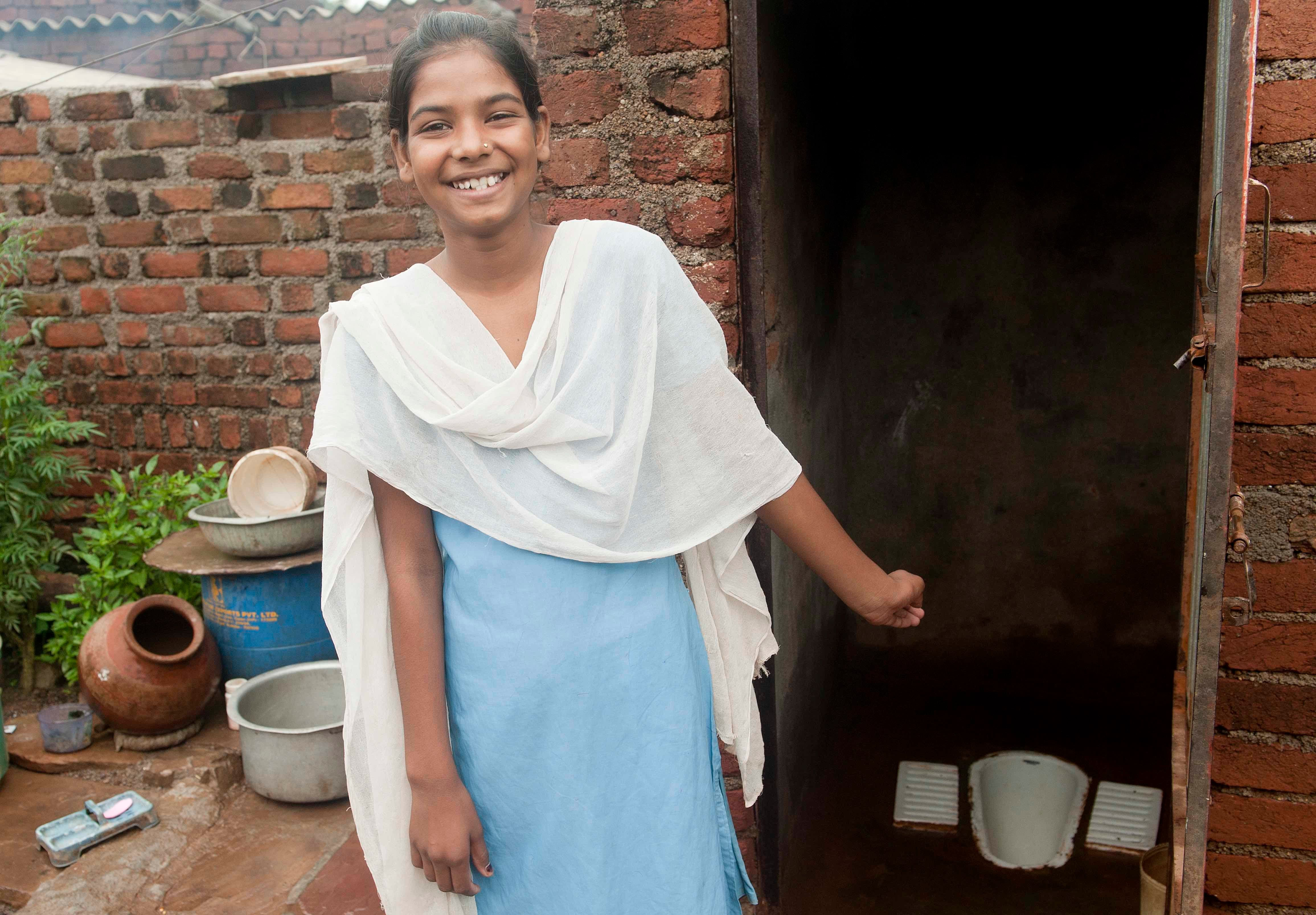 Tulsi Prajapati shows the toilet in her house in village Haripur, district Guna in Madhya Pradesh. Despite being rich in natural resources like diamonds, Madhya Pradesh is more infamous for its poverty. It is home to around 50 million people who defecate in the open air without latrines (around 70% of its 72 million people). These people consequently do not have adequate hygiene, without soap and enough water to wash their hands after defecating. About 5% of the global total of open defecators can be found in this one Indian state alone. Madhya Pradesh is also home to some of the most undernourished children in India with 50% of under three's suffering from stunting (chronic malnutrition), an indicator of long-term persistent nutrition deprivation that lead to poor physical growth and brain development in children with tragic implications for child survival, growth and development. As much as 50% of malnutrition is caused not by a lack of food or poor diets, but due to poor water, poor sanitation facilities and unhygienic practices - like not washing hands properly with soap.  2.5 billion cases of diarrhoea in children under-five are recorded worldwide every year , and in India diarrhoea caused 2,12,000 child deaths in 2010 alone. Moreover, many people do not recognise diarrhoea as a problem; because it is so recurrent it is thought to be normal, and they do not seek help. These numbers are therefore likely to be under reported.  UNICEF India/ 2013/ Manpreet Romana