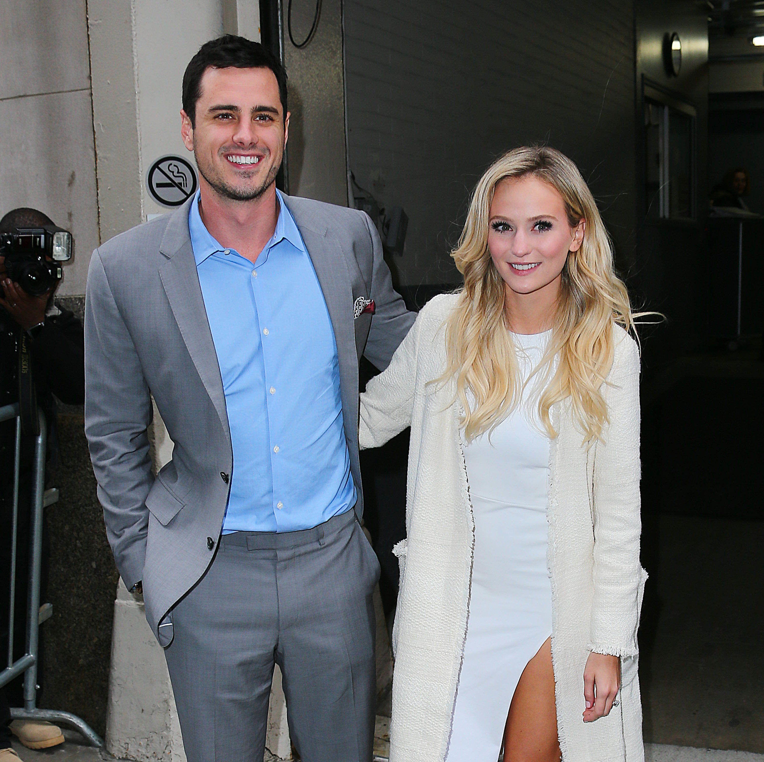 NEW YORK, NY - MARCH 15:  The Bachelor Ben Higgins and his fiancee Lauren Bushnell are seen on March 15, 2016 in New York City.  (Photo by XPX/Star Max/GC Images)