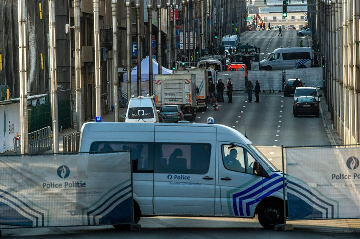 Police block accessto the Maelbeek metrostation in Brussels after explosions in the city.