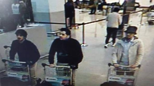 Three terror suspects are seen at Belgium's Zaventem Airport in an image released Tuesday by Belgian police.