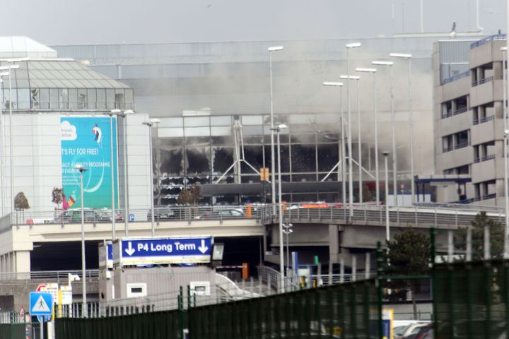 A plume of smoke rises over Brussels airport after the terrorist attack Tuesday.